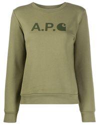 Sudadera con logo estampado A.P.C. de color Green