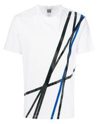 Les Hommes - White Line Print T-shirt for Men - Lyst