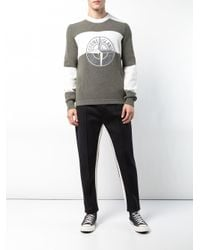 Stone Island Green Logo-embroidered Striped Jumper for men