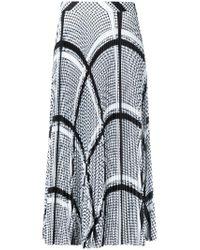 MSGM White Keffiyeh Print Pleated Skirt