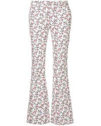 Calvin Klein Floral Print Corduroy Pants White