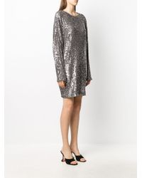 In the mood for love Metallic Long-sleeve Sequin Dress