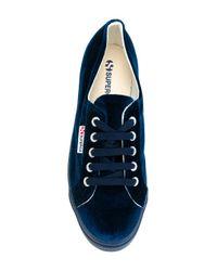 Superga - Blue Platform Velvet Sneakers - Lyst