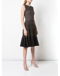 Robe à rayures métallisées Oscar de la Renta en coloris Black