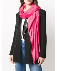 Twin Set Pink Frayed Heart-print Scarf