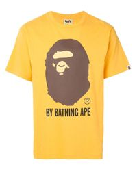 A Bathing Ape Yellow Graphic-print Crew Neck T-shirt for men