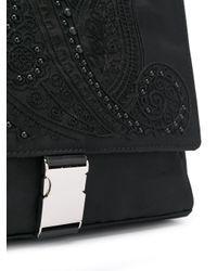 Etro Black Embroidered Detail Shoulder Bag for men