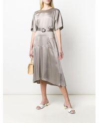 Luisa Cerano Gray Belted Flared Midi Dress