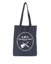 メンズ A.P.C. ロゴ トートバッグ Blue