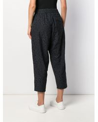 YMC Black Cropped Embroidered Trousers