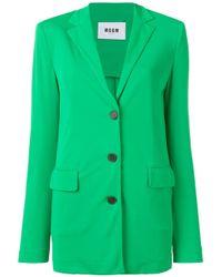 Однобортный Блейзер MSGM, цвет: Green