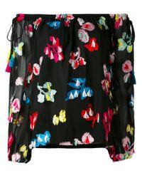 Tanya Taylor Black Embroidered Off-shoulder Blouse