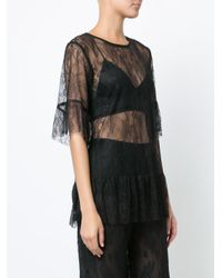 Anna Sui Black Lace Sheer Blouse
