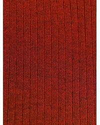 MM6 by Maison Martin Margiela Red Ribbed Cut Out Jumper