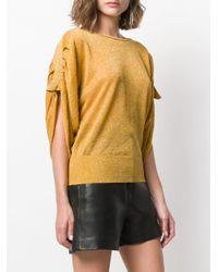 Liu Jo Yellow Short-sleeve Draped Top