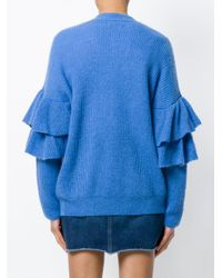 Essentiel Antwerp Blue Palladia Ruffle Trim Cardigan