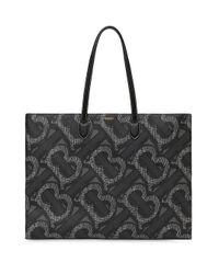 Burberry Black Monogram Print E-canvas Tote Bag