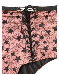 Fleur du Mal Multicolor Lace-up High Waist Bikini Bottom