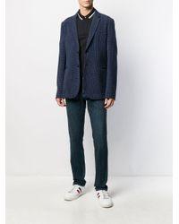 メンズ Emporio Armani ハウンドトゥース シングルジャケット Blue