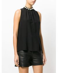 Boutique Moschino Black Pearl Embellished Vest Top