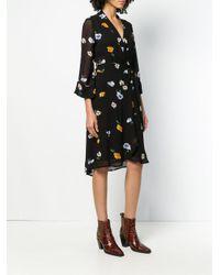 Ganni Black Floral Wrap Dress