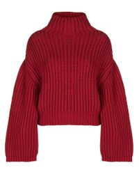 Lanvin Red Oversized Turtle-neck Sweater