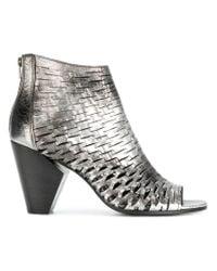 Strategia - Metallic Perforated Sandals - Lyst
