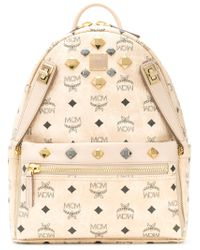 MCM Natural Logo Printed Studded Backpack