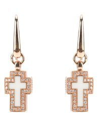 Gavello | Pink Cross Diamond Earrings | Lyst