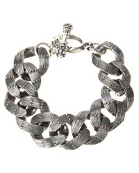 King Baby Studio - Gray Textured Chain Link Bracelet - Lyst