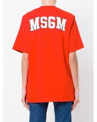 MSGM Red Short Sleeved Logo T-shirt