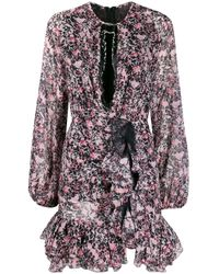 Giambattista Valli Black Floral-print Dress