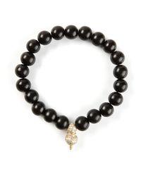 Luis Morais Black Diamond Embellished Detail Bracelet for men