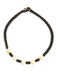 Luis Morais | Black Gold Detail Thin Bracelet for Men | Lyst