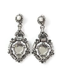 Lanvin | Gray Embellished Clip-on Earrings | Lyst