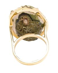 Kimberly Mcdonald - Green 18k Yellow Gold Diamond & Geode Ring - Lyst