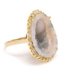 Kimberly Mcdonald Green 18k Yellow Gold Diamond & Geode Ring