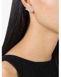 V Jewellery - Metallic Contour Loop Earrings - Lyst