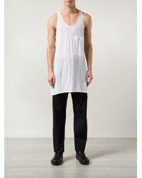Ann Demeulemeester White Oversized Tank Top for men