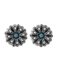 Lanvin | Metallic Flower Clip On Earrings | Lyst