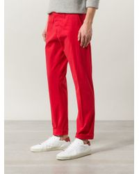 AMI - Red - Slim Fit Chinos - Men - Cotton/spandex/elastane - Xl for Men - Lyst