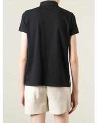 Moncler - Black Floral Print Polo Shirt - Lyst