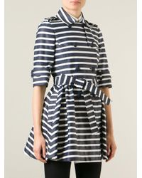 RED Valentino - Blue - Striped Trench Coat - Women - Cotton/polyester/acetate - 46 - Lyst