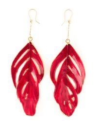 Aurelie Bidermann - Red Swan Feather Earrings - Lyst