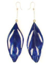 Aurelie Bidermann | Blue Swan Feather Earrings | Lyst