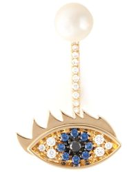 Delfina Delettrez | Metallic 'eyes On Me Piercing' Sapphire And Diamond Earring | Lyst
