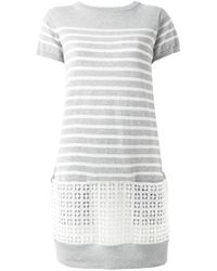 Sacai Luck   Gray Broderie Anglaise Band Striped Dress   Lyst