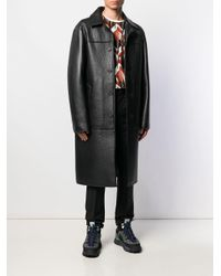 Acne Black Textured Leather Coat for men