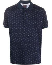 メンズ Paul & Shark オールオーバーロゴ ポロシャツ Blue