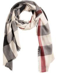 ebe0f2af1344 Lyst - Écharpe en cachemire à carreaux Burberry en coloris Blanc